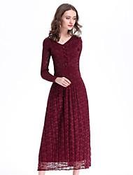 abordables -Femme Bohème Ample Robe - Plissé, Fleur Col en V