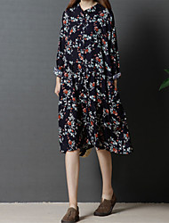 preiswerte -Damen Lose Hemd Kleid-Alltag Ausgehen Freizeit Chinoiserie Druck Ständer Knielang Langärmelige Baumwolle Leinen Frühling Herbst Mittlere