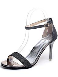 cheap -Women's Shoes PU Summer Comfort Slippers & Flip-Flops Block Heel Open Toe Sequin for Casual Dress Gold Black Silver