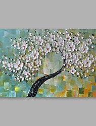 cheap -Hand-Painted Floral/Botanical Horizontal, Modern Oil Painting Home Decoration One Panel