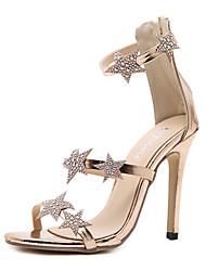 preiswerte -Schuhe Tüll Kunstleder Frühling Sommer Komfort Neuheit Modische Stiefel Sandalen Stöckelabsatz für Hochzeit Gold Schwarz