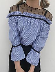 Недорогие -Для женщин На каждый день Рубашка Круглый вырез,Уличный стиль Полоски Контрастных цветов Длинный рукав,Хлопок
