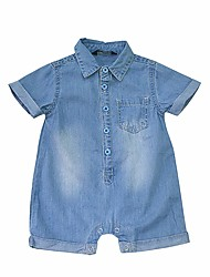 cheap -Baby Girls' Casual/Daily Solid One-Pieces, Cotton Summer Simple Short Sleeves Light Blue