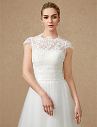 cheap -Short Sleeve Lace / Tulle Wedding / Party / Evening Women's Wrap With Appliques / Lace Shrugs