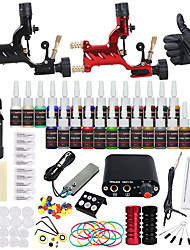 cheap -starter tattoo kits 2 alloy machine liner & shader Mini power supply 5 x tattoo needle RL 3 5 x tattoo needle RL 5 5 x tattoo needle RS 5