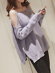 cheap -Women's Party Daily Casual Long Cardigan,Solid Round Neck Long Sleeve Cashmere Winter Thick Inelastic