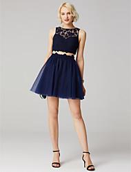 preiswerte -A-Linie Prinzessin Schmuck Kurz / Mini Spitze Tüll Cocktailparty Kleid mit Applikationen Plissee durch TS Couture®