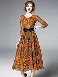 cheap -Women's Sheath Lace Swing Dress - Color Block, Lace Cut Out Ruched