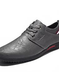 baratos -Homens sapatos Pele Napa / Pele Primavera / Outono Conforto Mocassins e Slip-Ons Preto / Cinzento / Vinho