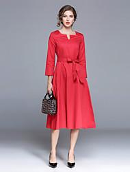hesapli -Kadın's Dışarı Çıkma Sokak Şıklığı Pamuklu Çan Elbise - Solid V Yaka Midi