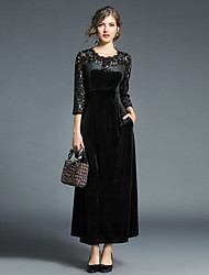 cheap -Women's Sheath Lace Dress - Solid, Lace High Waist Maxi