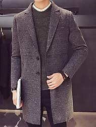 Недорогие -Для мужчин На выход На каждый день Зима Осень Пальто Воротник Питер Пен,Уличный стиль Однотонный Длинная Длинный рукав,Шерсть,Формальный