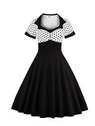 cheap -Women's Holiday Going out Vintage Casual A Line Sheath Dress,Solid Polka Dot Patchwork Square Neck Knee-length Short Sleeve Cotton Winter