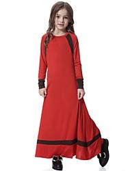 abordables -Robe Fille de Quotidien Vacances Couleur Pleine Mosaïque Polyester Spandex Printemps Automne Manches Longues Rétro Mignon Noir Rouge Rose