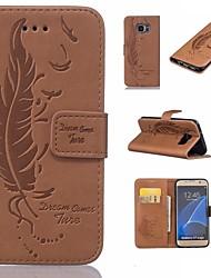 abordables -Funda Para Samsung Galaxy S7 edge S7 Soporte de Coche Cartera con Soporte Flip En Relieve Plumas Dura para