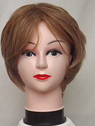cheap -Synthetic Wig Curly / Deep Wave Bob Haircut / With Bangs Synthetic Hair Highlighted / Balayage Hair / Natural Hairline Blonde Wig Women's Short Capless