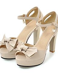 baratos -Mulheres Sapatos Couro Ecológico Primavera / Verão Conforto / Inovador Sandálias Salto Alto Peep Toe Laço Bege / Rosa claro / Amêndoa