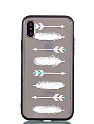 abordables -Funda Para Apple iPhone X iPhone 8 Transparente En Relieve Diseños Cubierta Trasera Plumas Dura Policarbonato para iPhone X iPhone 8 Plus