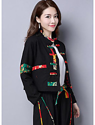 cheap -Women's Daily Going out Vintage Casual Winter Fall Set Pant Suits,Solid Crew Neck Long Sleeve Linen
