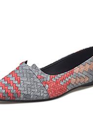 abordables -Femme Chaussures Polyuréthane Printemps Automne Confort Mocassins et Chaussons+D6148 Talon Plat pour Gris Bleu