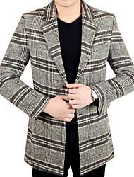 cheap -Men's Casual/Daily Simple Spring Fall Blazer,Plaid Shirt Collar Long Sleeves Short Cotton Polyester