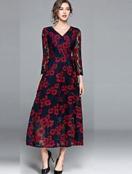cheap -Women's Daily Vintage Casual Loose Chiffon Dress,Floral V Neck Maxi Long Sleeve Rayon Fall Medium Waist Inelastic Thin