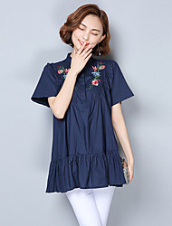 cheap -Women's Sophisticated Chinoiserie Cotton Shirt - Embroidery Stand