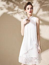 baratos -Mulheres Solto Vestido - Fenda, Sólido Colarinho Chinês