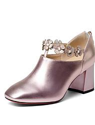 Недорогие -Жен. Обувь Наппа Leather Кожа Весна Осень Удобная обувь Обувь на каблуках На толстом каблуке для Повседневные Темно-серый Розовый