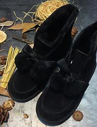 Недорогие -Для женщин Обувь Шерсть Полиуретан Зима Осень Удобная обувь Зимние сапоги Ботинки Плоские Закрытый мыс Ботинки для Повседневные Черный