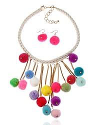 preiswerte -Damen Tropfen-Ohrringe Halskette Koreanisch Süß lieblich Alltag Leder Harz Kugel 1 Halskette Ohrringe