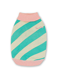 cheap -Dog Sweater Vest Dog Clothes Stripe Green Blue Pink Cotton Costume For Pets Casual / Daily Keep Warm