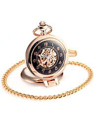 baratos -Casal Quartzo Relógio de Bolso Chinês Gravação Oca Relógio Casual Lega Banda Luxo Casual Caveira Fashion Dourada