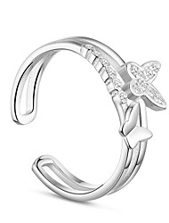 cheap -Women's Cubic Zirconia Open Cuff Ring - Alloy Bowknot Basic Adjustable Silver For Engagement Daily