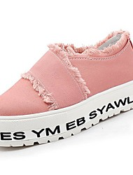 Недорогие -Жен. Обувь Ткань Весна Удобная обувь Мокасины и Свитер Микропоры Круглый носок Белый / Черный / Розовый