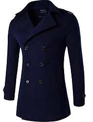 cheap -Men's Going out Casual/Daily Street chic Winter Fall Long Coat,Solid Peter Pan Collar Polyester Formal Style