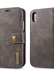 cheap -Case For Apple iPhone X iPhone 8 Card Holder with Stand Flip Full Body Cases Solid Color Hard PU Leather for iPhone X iPhone 8 Plus