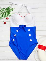 preiswerte -Damen Halter Einteiler Bademode Push-Up Muster Königsblau