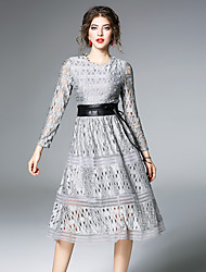cheap -MAXLINDY Women's Party Going out Vintage Street chic Lace Swing DressSolid Round Neck Midi Long Sleeve Polyester Winter Fall High Waist Inelastic