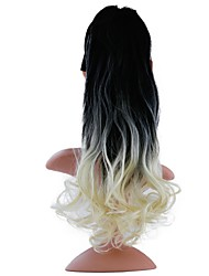 cheap -20 inch Black/Green Black/Red Blue White Dark Wine Drawstring Curly Ponytails Tie Up Synthetic Hair Piece Hair Extension