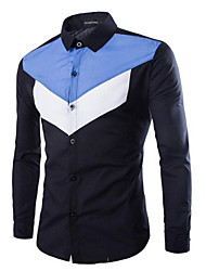 cheap -Men's Daily Street chic Shirt, Solid Letter Shirt Collar Long Sleeves Polyester