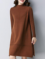cheap -Women's Going out Street chic Sweater Dress,Solid Turtleneck Knee-length Long Sleeve Polyester Winter Fall Mid Rise Micro-elastic Thick