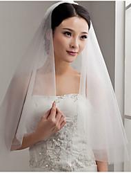 baratos -Duas Camadas Corte da borda Véus de Noiva Com Fru-Fru Tule