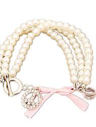 billige -Dame Perle Lyserød Strand Armbånd - Imiteret Perle Mode Armbånd Hvid Til Daglig
