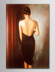 cheap -Oil Painting Hand Painted - People Simple Modern Canvas