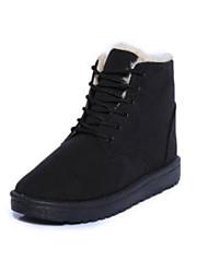 Недорогие -Для женщин Обувь Полиуретан Зима Осень Удобная обувь Ботинки Плоские Круглый носок Закрытый мыс Ботинки для Повседневные Черный Бежевый