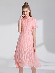 cheap -Women's Vintage Casual A Line Dress - Jacquard, Flower High Waist Stand