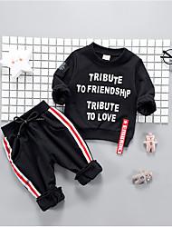abordables -Ensemble de Vêtements Garçon Quotidien Couleur Pleine Laine Coton Fibre de bambou Printemps Manches longues simple Rétro Blanc Noir Rouge