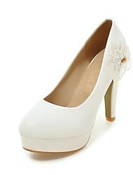 abordables -Femme Chaussures Similicuir Printemps / Automne Confort Chaussures à Talons Talon Bottier Appliques Blanc / Jaune / Rose / Habillé
