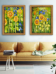 cheap -Landscape Floral/Botanical Illustration Wall Art,PVC Material With Frame For Home Decoration Frame Art Living Room Bedroom Kitchen Dining